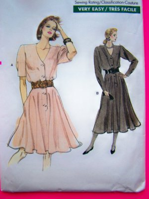 Uncut 1980s Vogue Dress Blouson Bodice Flared Skirt 12 14 16 Vintage Sewing Pattern 7118
