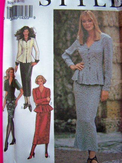 90s Misses 8 - 18 Sewing Pattern Peplum Top Slim Short or Midi Skirt 2334