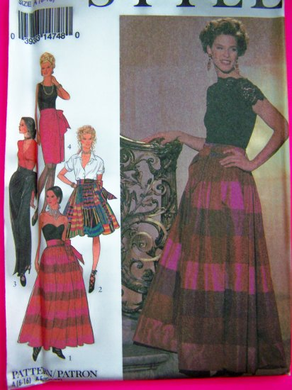 Wrap Over Skirt Full or Fitted Skirts Wide Waistband Tie Side 6 8 10 12 14 16 Sewing Pattern 2373