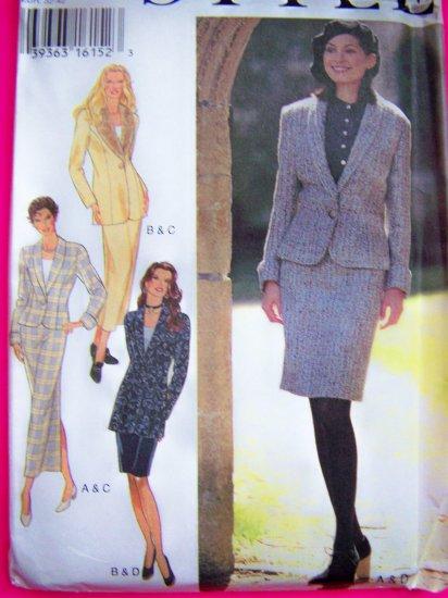 Misses 6 8 10 12 14 16 Suit Blazer Jacket 2 Length Slim Skirts Sewing Pattern 2547