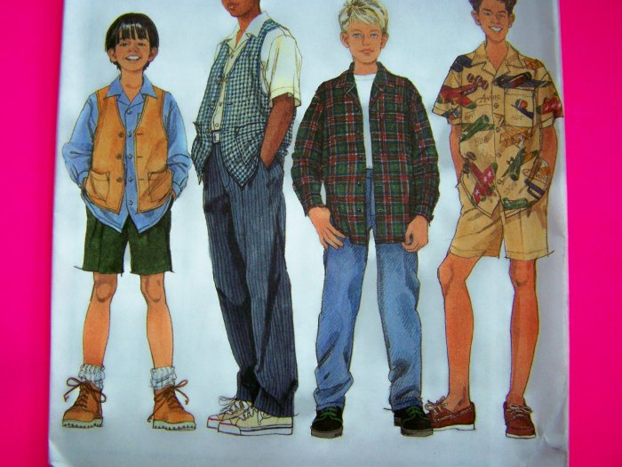 Boys 7 8 10 Button Up Shirt Vest Pants Shorts Simplicity Sewing Pattern 7224