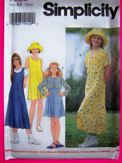Girls 7 8 10 Jacket Dress or Jumper Sundress Hat Sewing Pattern 7225
