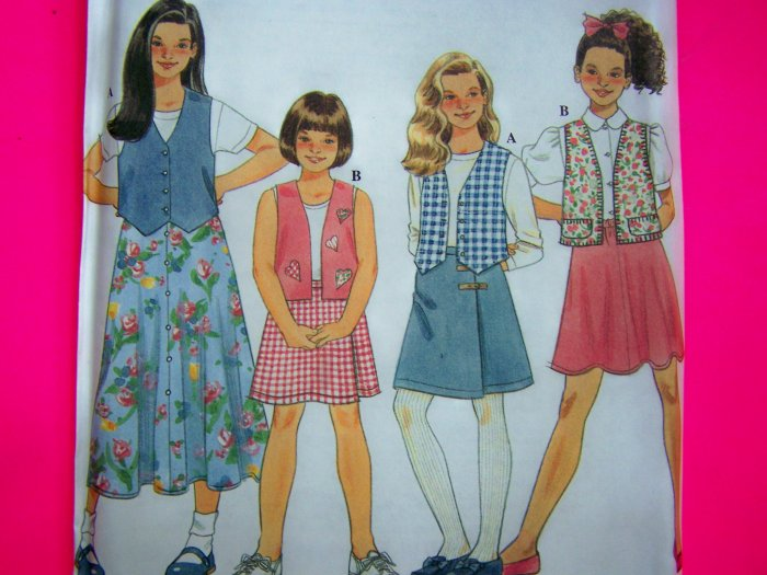 Vests and Long Flared Skirts Short Wrap Skirt Girls 7 8 10 Sewing Pattern 7233