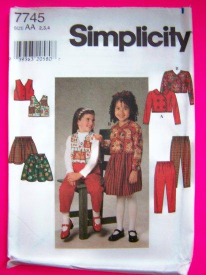 Toddler Girls 2 3 4 Jacket Vest Full Skirt Pants Sewing Pattern 7745