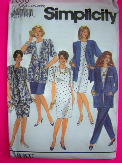 Womens Pants Skirt Dress TUnic Top Unlined Jacket Plus Size 26W 28W 30W 32W Sewing Pattern 7896