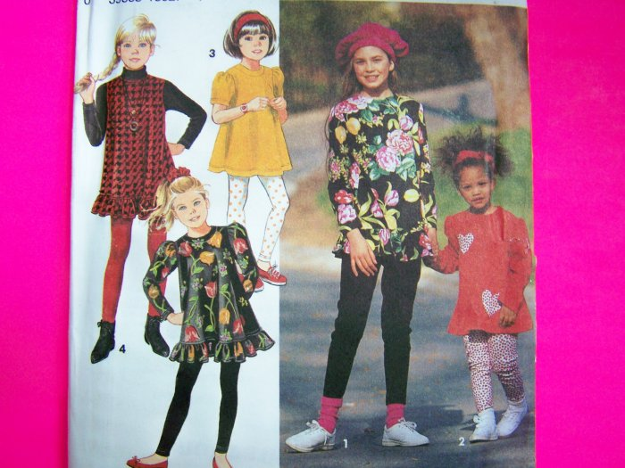 Girls Leggings Tent Top Ruffle Hem Shirt Dress 3 4 5 6 Sewing Pattern 8012