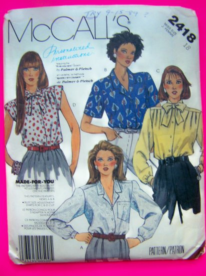 1980s Misses Blouses Shirts Tops Vintage Sewing Pattern 2418