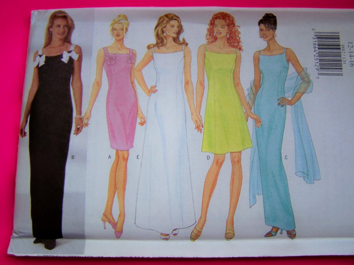 Misses Evening Sundress Gown Cocktail Dress Scarf 18 20 22 Plus Size Sewing Pattern 4882