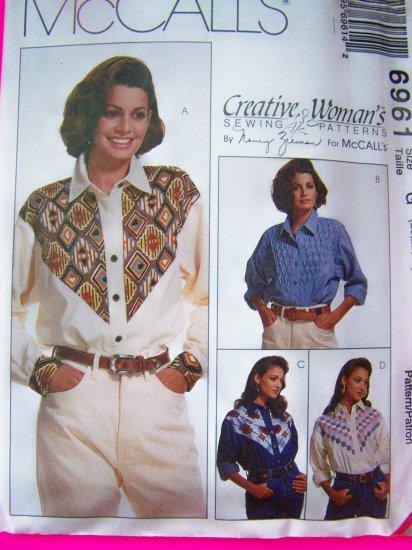 Womens Plus Size 20 22 24 Long Sleeve Western Shirts Sewing Pattern 6961