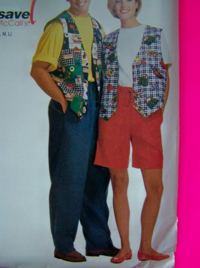 Mens Misses XL XXL Lined Vest Shirt Elastic Waist Pants Shorts Sewing Pattern 7469