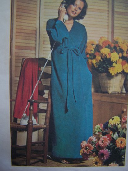 1970s Long Wrap Around Robe Petite Sz 6 Small Vintage Sewing Pattern 3966