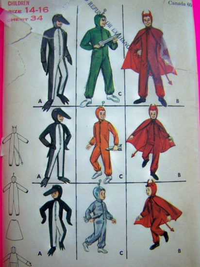 1950s Vintage Childs Halloween Costume Space Suit Penguin Devil Sewing Pattern 3274