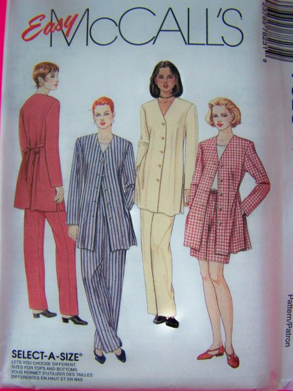 1990s Misses 8 10 12 Suit Jacket Top Pants Shorts Sewing Pattern McCalls 7823