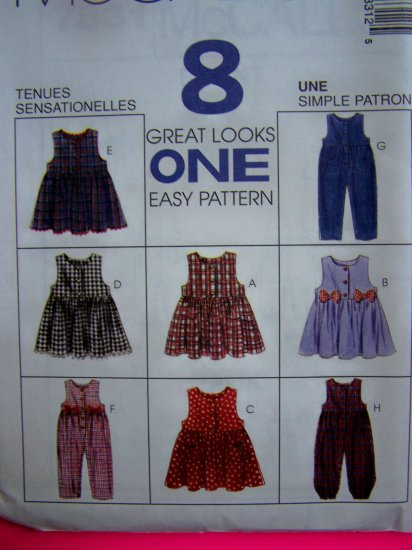 Toddler 2T 3T 4T Jumpsuit Coverall Jumper Dress Sewing Pattern 7831