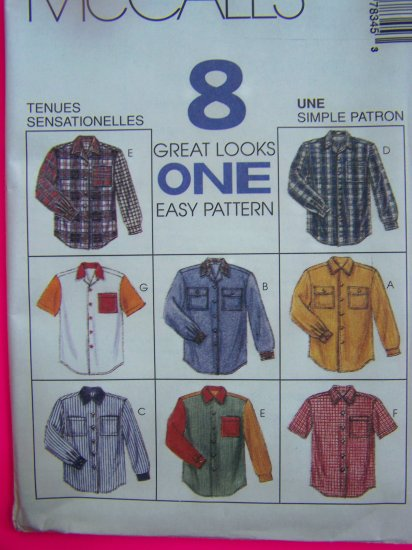 Misses or Mens Medium Shirts Short Long Sleeved McCalls Sewing Pattern 7834