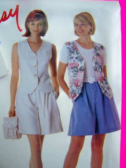 New Misses 8 10 12 14 Princess Seam Vest Wide Leg Shorts Sewing Pattern 8030