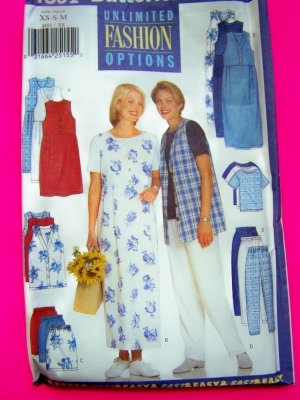Misses Jumper Dress Vest Top Straight Skirt Tapered Pants Sewing Pattern 4891