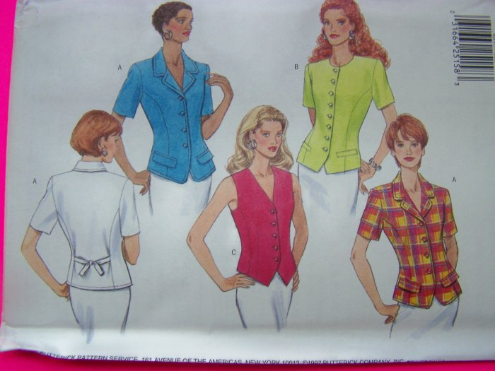Misses 6 8 10 Fitted Shirt Vest Top Princess Seams Butterick Sewing Pattern 4893