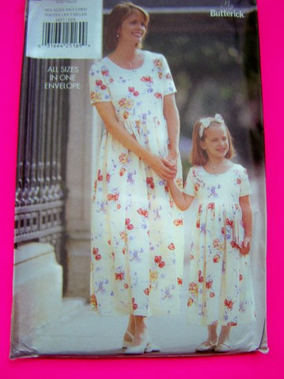 Mother Daughter Dress Misses 6 - 24 Girls 2 - 6X Butterick Sewing Pattern 4897