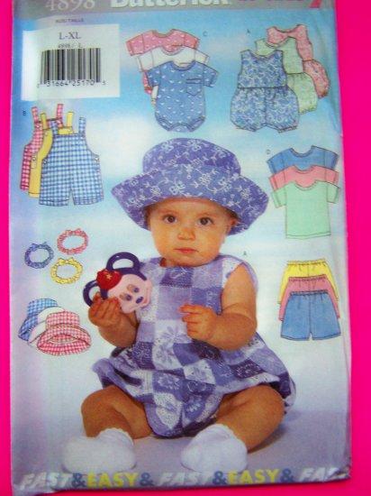 New Infants Romper Overalls T Shirt Shorts Hat Headband 22 - 30 Lbs L XL  Sewing Pattern 4898