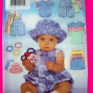 New Infants Romper Overalls T Shirt Shorts Hat Headband 22 - 30 Lbs L XL  Sewing Pattern 4898