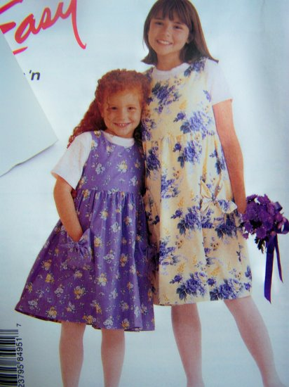 Girls Jumper Dress Patch Pockets 7 8 10 12 14 Sewing Pattern 8495 Free Shipping