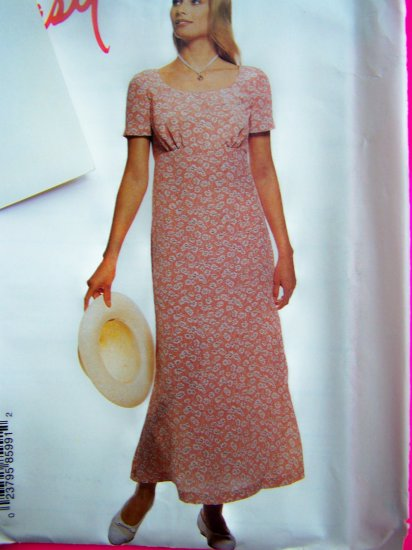 USA 1 Cent S&H Misses Empire Pullover Dress Back Ties 4 6 8 10 Sewing Pattern 8599