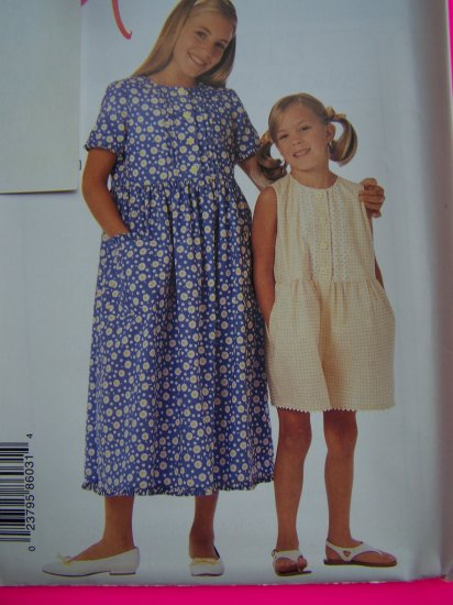 Girls Pin Tucks Ruffles Dress Romper 2 3 4 5 6 McCalls Sewing Pattern 8603