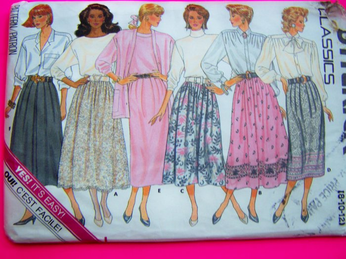 Vintage Sewing Pattern Skirts A Line Straight Flared Misses 8 10 12 # 5736