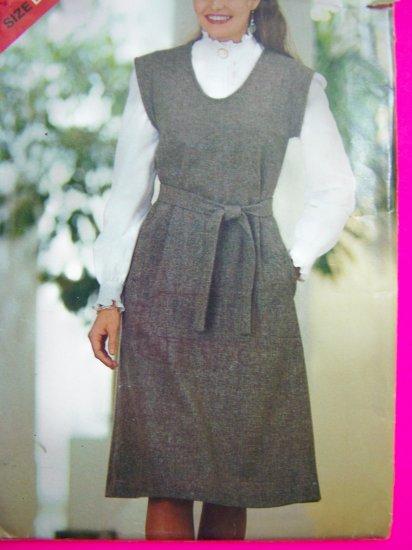 1980s Vintage Sewing Pattern 14 16 18 Belted Jumper Dress U Neck 3828