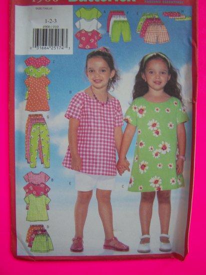 Girls 1 2 3 Toddler A Line Dress Top Skort Shorts Leggings Sewing Pattern 4900 Free Shipping
