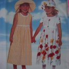 FREE USA S&H New Toddler Girls 2 3 4 Empire Back Ties Long Midi Dress Hat Sewing Pattern 4901