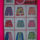 New 9 Childrens Shorts 2 3 4 5 6 6X Sewing Patterns Butterick 4905