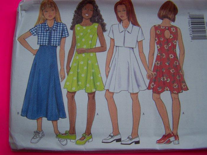 USA Free S&H New Girls 12 14 Flared Dress Jacket Princess Seams Keyhole Sewing Pattern 4904