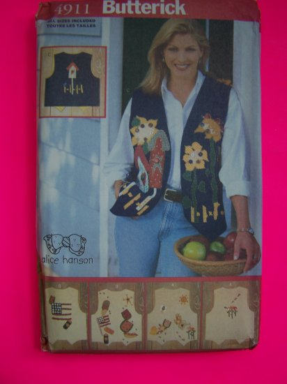 Alice Hanson Applique Vest S M L Sewing Pattern 4911 Sizes 8 10 12 14 16 18