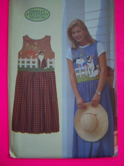 Misses Jumper Dress Dirndl Skirt Cats in the Garden Appliques S M L Sewing Pattern 4910