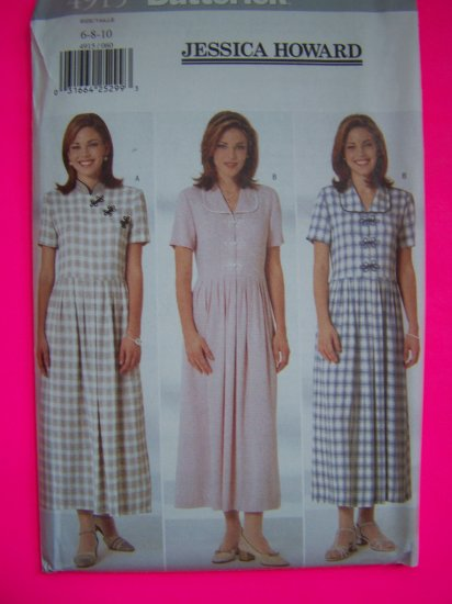Jessica Howard 6 8 10 Dress Above Ankle Flared Skirt Back Ties Sewing Pattern 4915