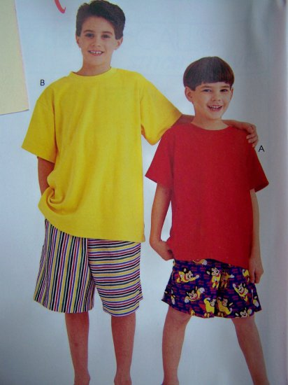 Kids Boys Easy T Shirt Elastic Waist Shorts 7 8 10 12 14 Sewing Pattern 8759