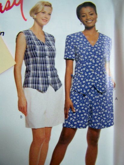 Misses 10 12 14 16 Fitted Tops Pull on Shorts Easy Uncut Sewing Pattern 8768