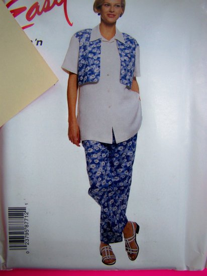 Easy McCalls 8771 Mock Vest Shirt Pull on Pants 10 12 14 16 Sewing Pattern