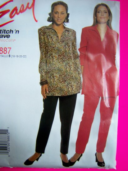 Misses Plus Size Pullover Tunic Top Elastic Waist Straight Pants Sewing Pattern 8887