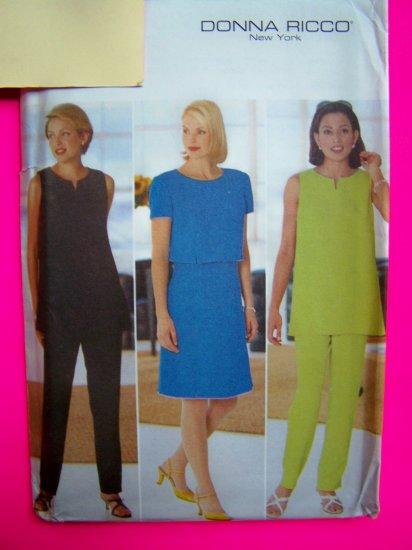 Uncut A Line Princess Seam Dress Tunic Top Slim Pants Donna Ricco Sewing Pattern 4930