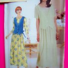 Butterick 4931 Dress Flared Pleated Gathered Skirt OVerlay 6 8 10 Sewing Pattern 4931