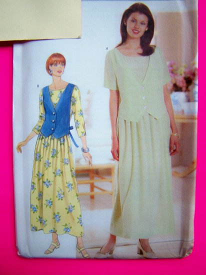 Misses Dress Loose Dropped Waist Tie Back Overlay 12 14 16 Sewing Pattern 4931
