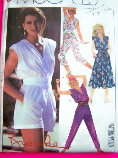 80s Vintage Dress Jumpsuit SHorts Romper Brooke Shields Sz 8 Sewing Pattern 9573