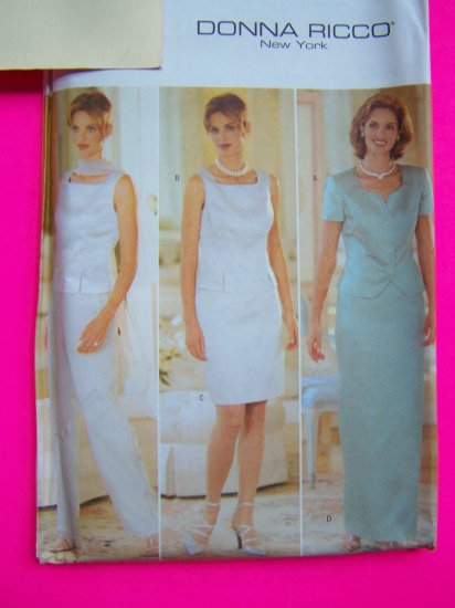 Misses 6 8 10 Donna Ricco 2 Piece Dress Short or Long Evening Gown Pants Sewing Pattern 4935