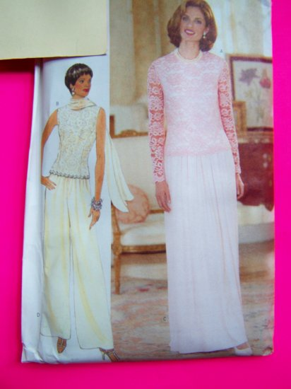 Princess Seam Top Sleeveless or Lace Long Sleeves Skirt Pants Scarf 6 8 10 Sewing Pattern 4936