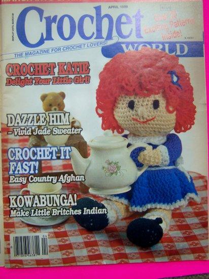 1980s Vintage Crochet World Back Issue Pattern Magazine 20 Crocheting Patterns