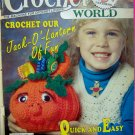 Vintage Crochet World Pattern Magazine Pumpkin Halloween Doily Afghan Barbie