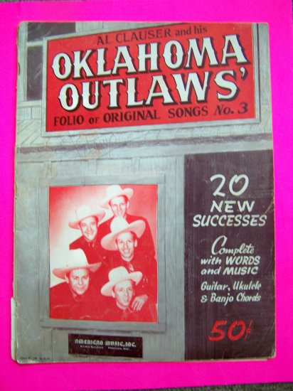 1940s Al Clauser Oklahoma Outlaws Band Country Songs Book # 3 Guitar Ukulele Banjo Music